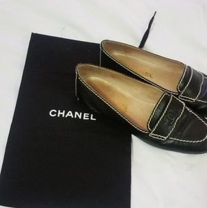 Authentic CHANEL Black Penny Loafers